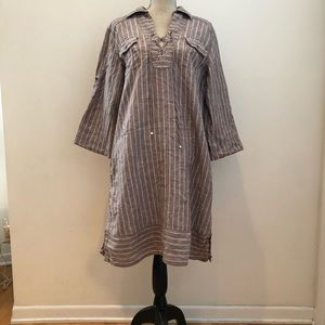 Tommy Bahama 100% Linen Khaki Striped ShirtDress L